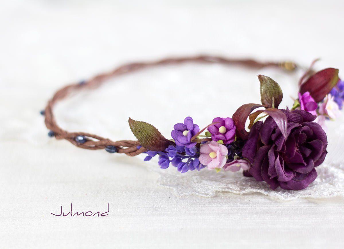 Jelly Haarkranz Blumen Blau Hochzeit Haarband-05