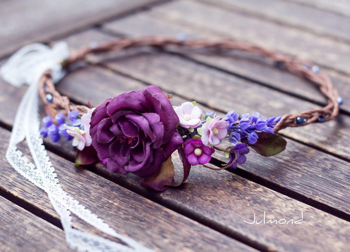 Jelly Haarkranz Blumen Blau Hochzeit Haarband-06