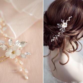 Kora Haarnadel Hochzeit Haarschmuck Strass Perlen-10