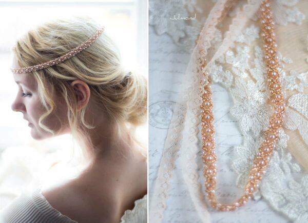 LaPerla II Haarband Roségold Hochzeit Perlen 02
