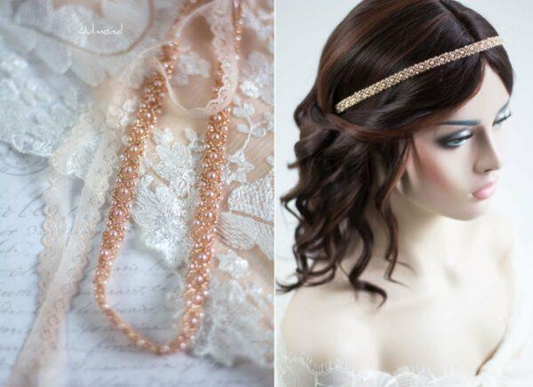 LaPerla II Haarband Roségold Hochzeit Perlen 04