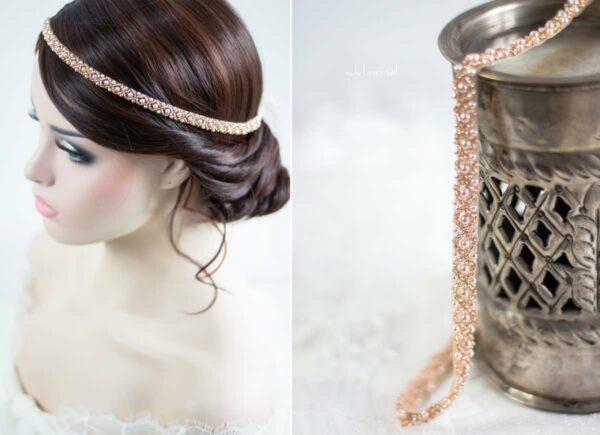 LaPerla II Haarband Roségold Hochzeit Perlen 05