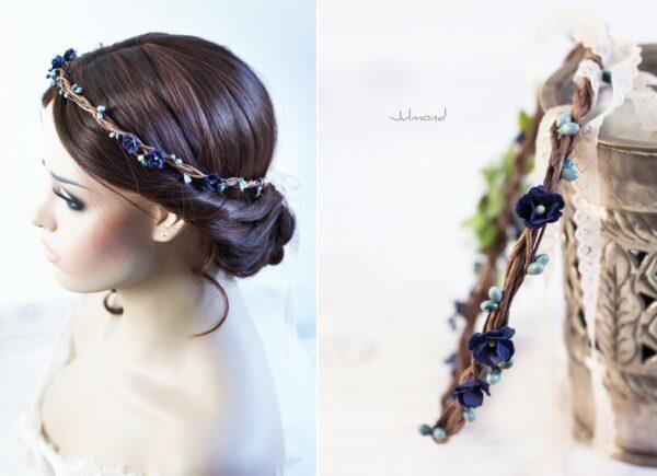 Laguna Hochzeit Haarband Blumen Blau Blumenkranz-02