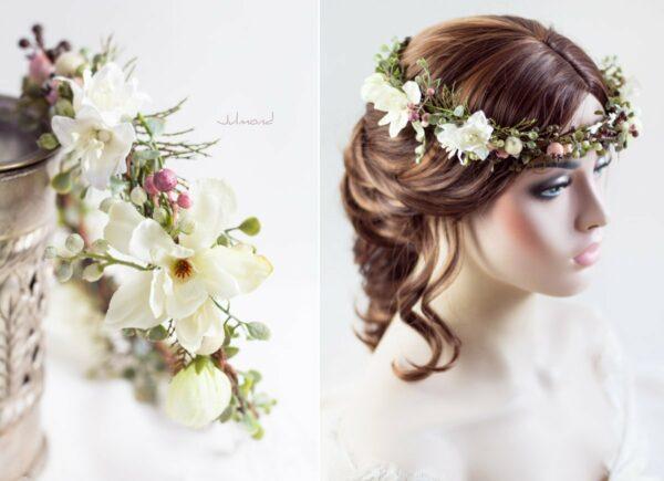 Loana Winterhochzeit Haarband Blumenkranz Vintage-01