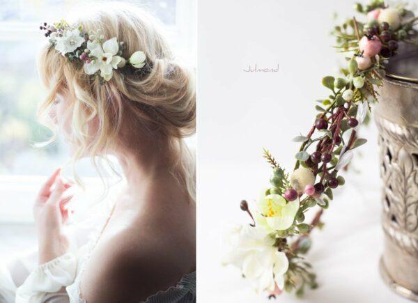 Loana Winterhochzeit Haarband Blumenkranz Vintage-03