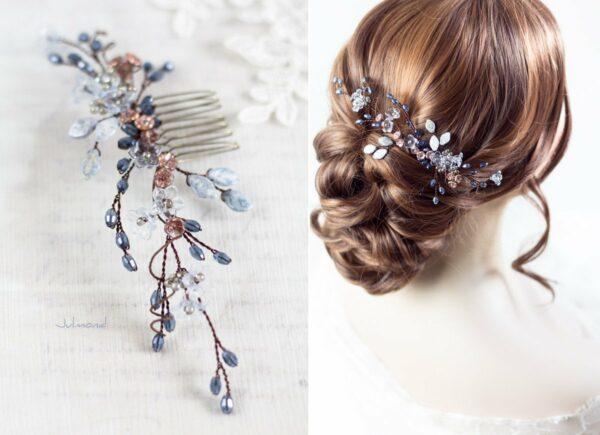 Madita Haarschmuck Blau Hochzeit Haarkamm Perlen-01