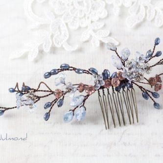 Madita Haarschmuck Blau Hochzeit Haarkamm Perlen-02