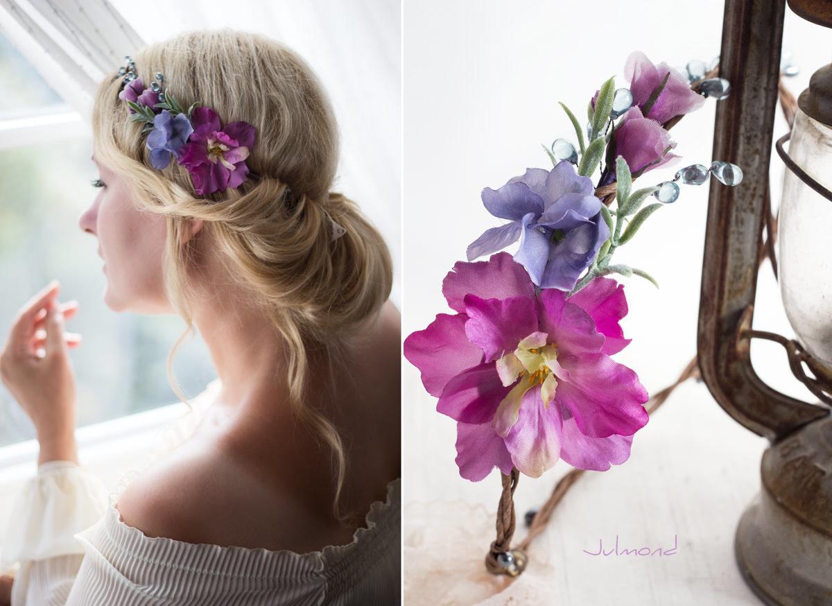 Mirella Haarkranz Blumen Perlen Hochzeit Haarschmuck blau-05