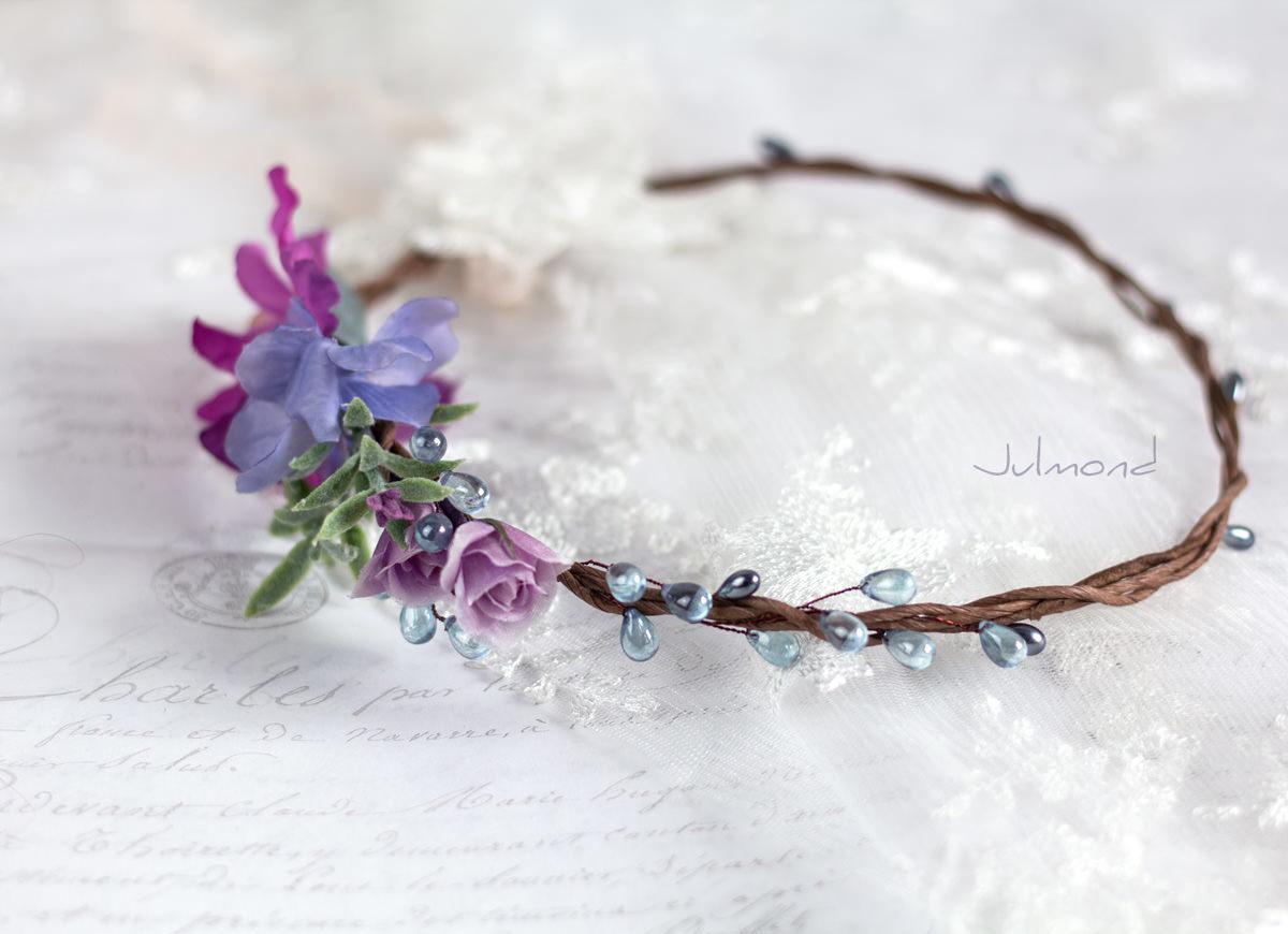 Mirella Haarkranz Blumen Perlen Hochzeit Haarschmuck blau-09