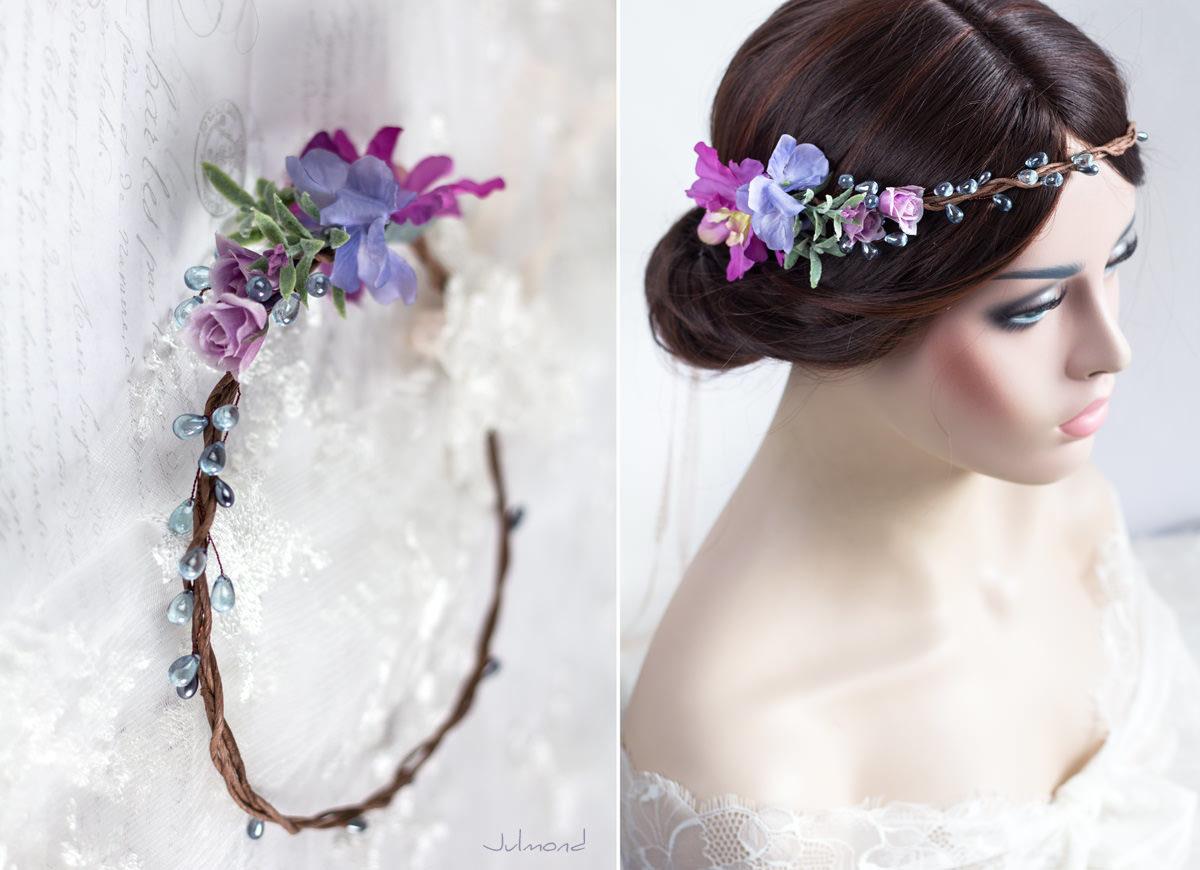 Mirella Haarkranz Blumen Perlen Hochzeit Haarschmuck blau-10