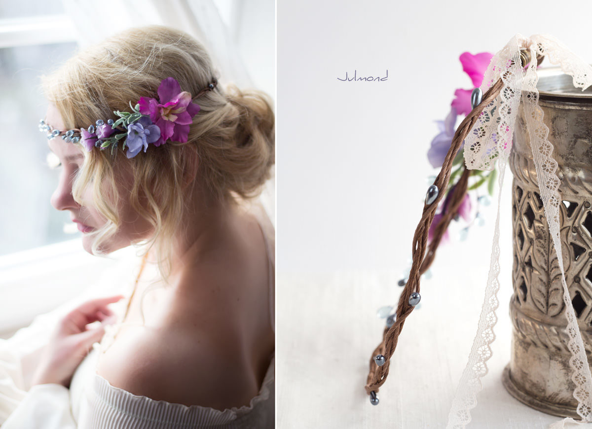 Mirella Haarkranz Blumen Perlen Hochzeit Haarschmuck blau-11