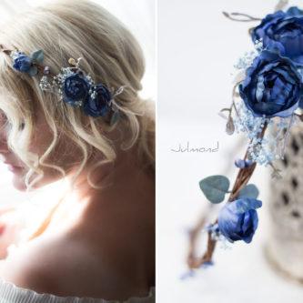 Teona Haarkranz Blumen blau Blumenkranz Haarschmuck-07