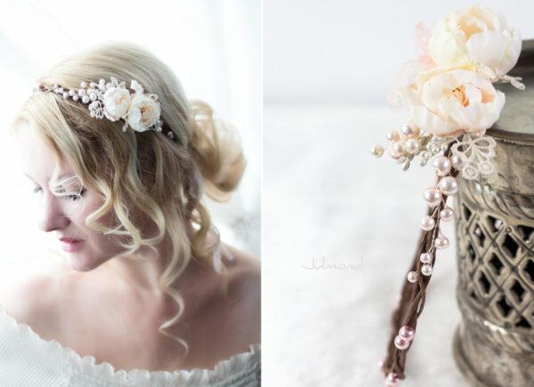 Valentina Haarband Perlen Diadem Hochzeit Haarkranz Rosen-01