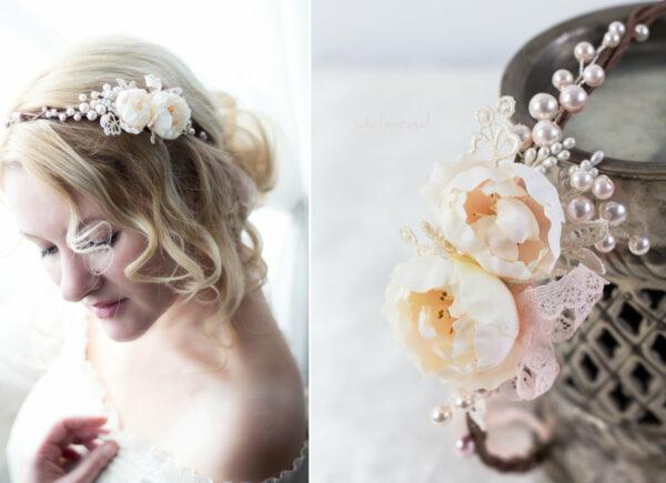 Valentina Haarband Perlen Diadem Hochzeit Haarkranz Rosen-02