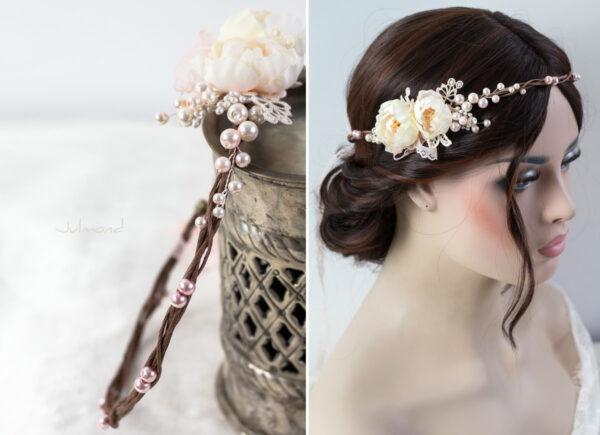 Valentina Haarband Perlen Diadem Hochzeit Haarkranz Rosen-04