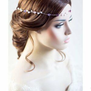 Violet Haarband Perlen Hochzeit Tiara-06