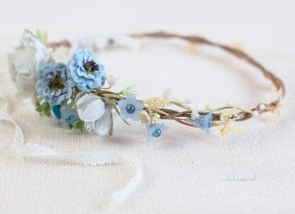Abigal Braut Blumenkranz Blumen Blau-05