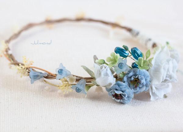 Abigal Braut Blumenkranz Blumen Blau-06
