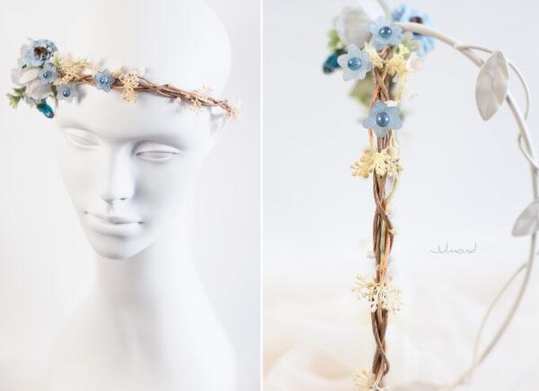 Abigal Braut Blumenkranz Blumen Blau-07