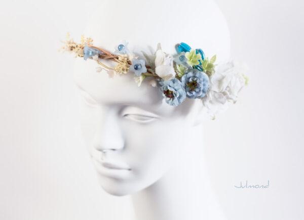 Abigal Braut Blumenkranz Blumen Blau-08