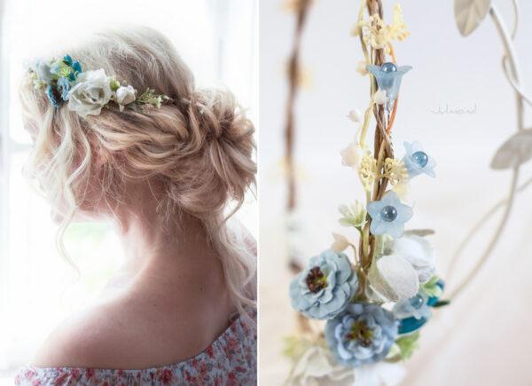 Abigal Braut Blumenkranz Blumen Blau-09