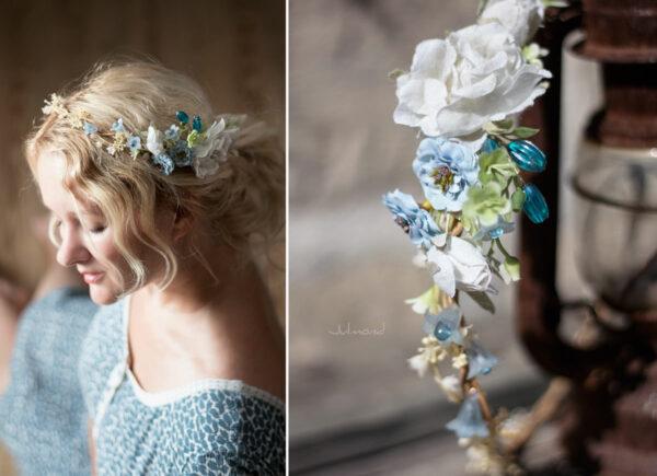 Abigal Braut Blumenkranz Blumen Blau-12