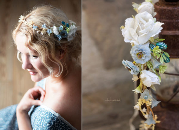 Abigal Braut Blumenkranz Blumen Blau-13