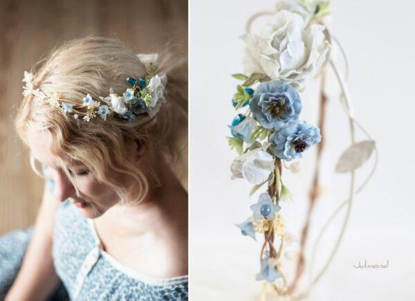 Abigal Braut Blumenkranz Blumen Blau-14