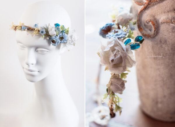 Abigal Braut Blumenkranz Blumen Blau-15