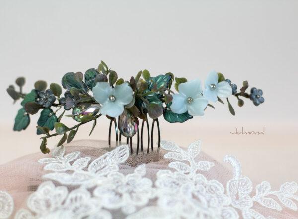 Achley Haarkamm Hochzeit Perlen Blau Strass-02