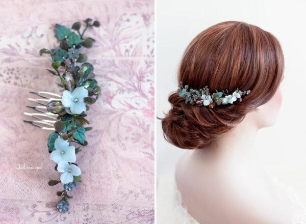 Achley Haarkamm Hochzeit Perlen Blau Strass-03