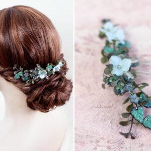 Achley Haarkamm Hochzeit Perlen Blau Strass-04