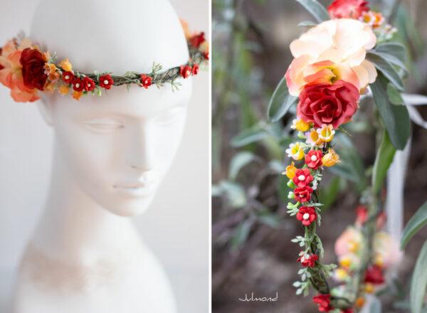 Dafina Blumenkranz Blumen Hochzeit Rot Haarschmuck-01