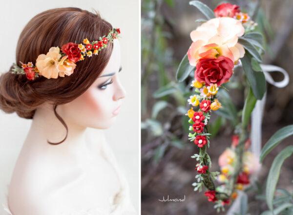 Dafina Blumenkranz Blumen Hochzeit Rot Haarschmuck-02