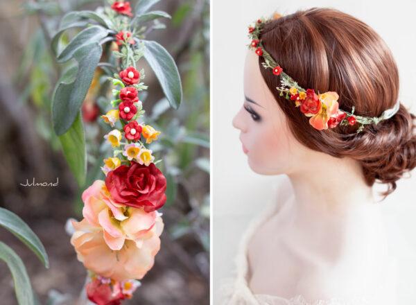 Dafina Blumenkranz Blumen Hochzeit Rot Haarschmuck-03