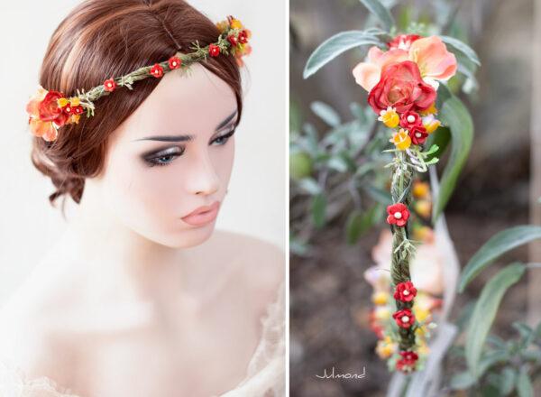 Dafina Blumenkranz Blumen Hochzeit Rot Haarschmuck-06