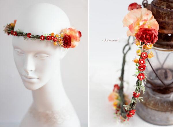 Dafina Blumenkranz Blumen Hochzeit Rot Haarschmuck-07