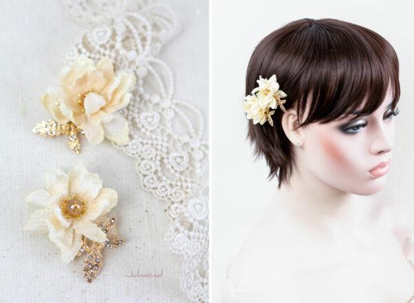 Dalila Haarbluete Braut Creme Gold -05