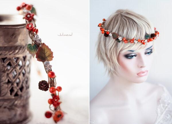 Elara Haarschmuck Blumen Herbst Orange-10