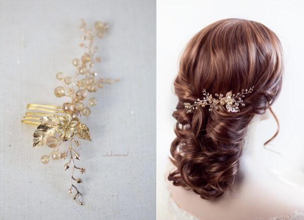 Elin – Braut Haarschmuck Gold Haarkamm-01