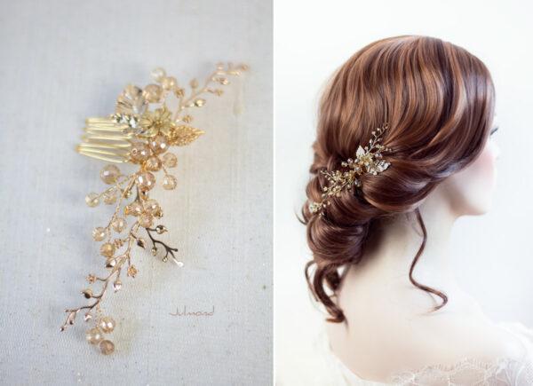 Elin – Braut Haarschmuck Gold Haarkamm-02