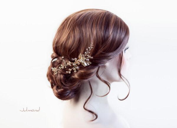 Elin – Braut Haarschmuck Gold Haarkamm-03