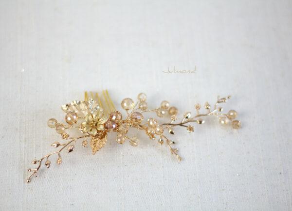 Elin – Braut Haarschmuck Gold Haarkamm-04