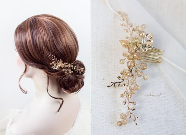 Elin – Braut Haarschmuck Gold Haarkamm-06