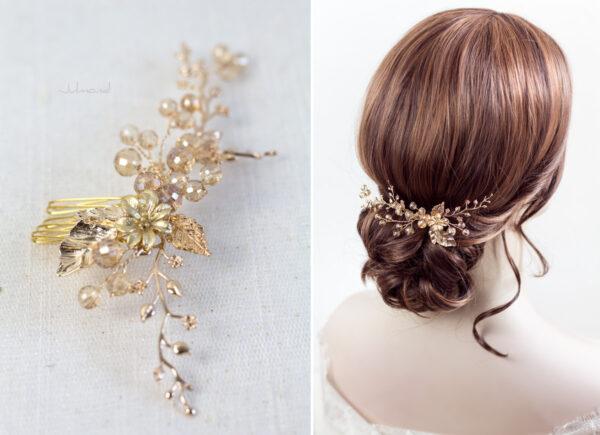Elin – Braut Haarschmuck Gold Haarkamm-07