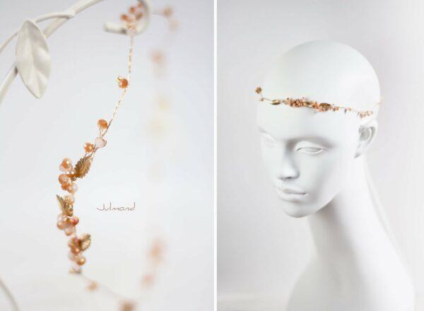 Evelia Haarschmuck Braut Diadem Rosegold-12