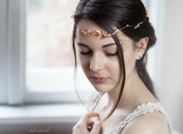 Evelia Haarschmuck Braut Diadem Rosegold-13