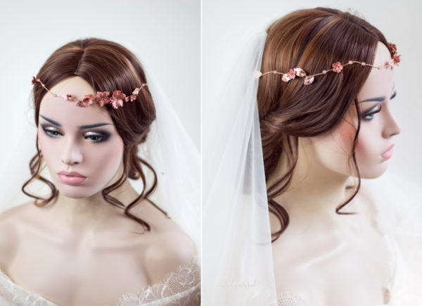 Fenja Diadem Hochzeit Tiara Braut Rosegold-13