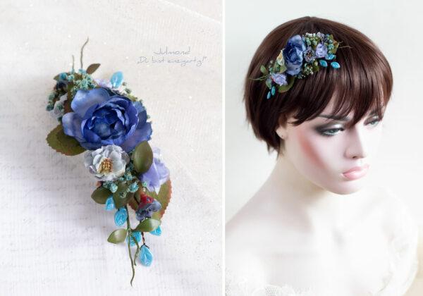 Haarschmuck Blumen Blau-03