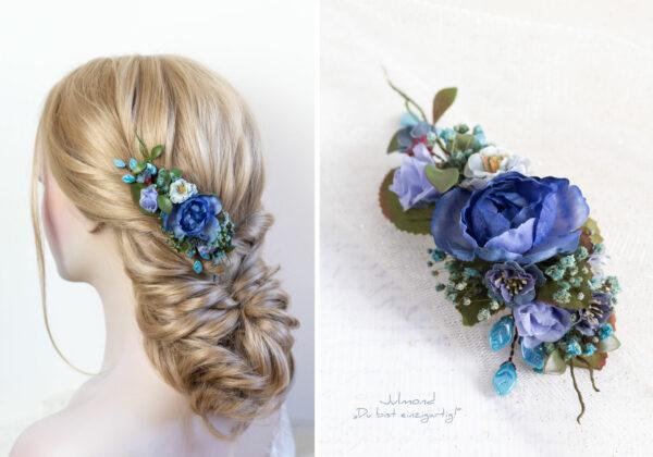 Haarschmuck Blumen Blau-05